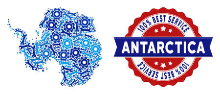 Service Antarctica map collage of service tools. Abstract territory plan in blue colors and best service stamp. Vector Antarctica map is created of gears and spanners. Concept of mechanic company. 일러스트