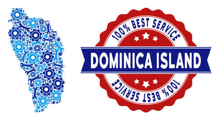 Repair service Dominica Island map mosaic of service tools. Abstract geographic plan in blue colors and best service reward. Vector Dominica Island map is designed of cogwheels and spanners.
