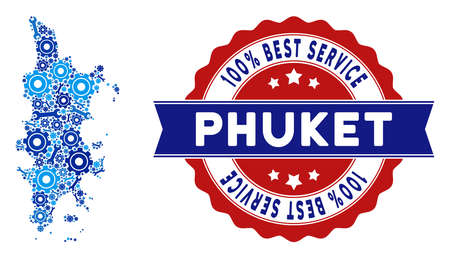Repair service Phuket map composition of tools. Abstract geographic plan in blue colors and best service stamp. Vector Phuket map is constructed of cogwheels and wrenches. Concept of mechanic service.