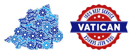 Repair service Vatican map collage of service tools. Abstract territorial scheme in blue colors and best service mark. Vector Vatican map is constructed of cogs and wrenches. Çizim
