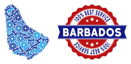 Repair service Barbados map mosaic of service tools. Abstract territory plan in blue colors and best service badge. Vector Barbados map is created of gears and wrenches.