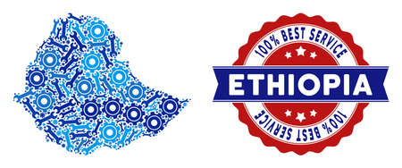 Service Ethiopia map composition of service tools. Abstract geographic scheme in blue colors and best service stamp. Vector Ethiopia map is done of gear wheels and wrenches. Concept of tuning service. Illustration