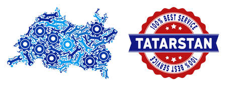 Service Tatarstan map mosaic of service tools. Abstract territory plan in blue colors and best service reward. Vector Tatarstan map is formed with cogs and wrenches. Concept of technical service. Ilustração