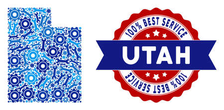Repair service Utah State map composition of service tools. Abstract territorial scheme in blue colors and best service stamp. Vector Utah State map is done with cogs and wrenches.