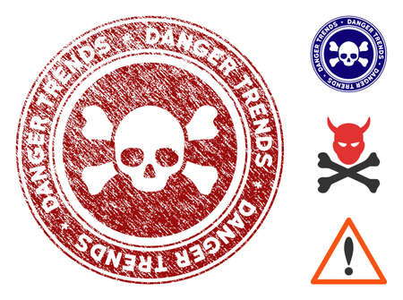 Deadly Danger Trends grunge round stamp with warning icon. Vector red seal with grungy effect for rubber stamps imitations. Rubber seal stamp with grunge design of deadly danger trends. 일러스트