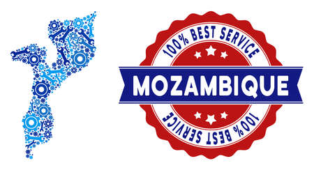 Service Mozambique map collage of service tools. Abstract territory plan in blue colors and best service award. Vector Mozambique map is done of cogwheels and spanners. Concept of mechanic service.