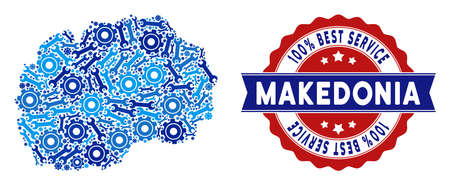 Repair workshop Makedonia map mosaic of service tools. Abstract territorial scheme in blue colors and best service reward. Vector Makedonia map is done of gearwheels and spanners.