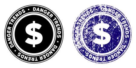 Finances Danger tendances rond timbre dans les styles grunge bleu et noir propre. Timbre de joint en caoutchouc avec la conception grunge des tendances de danger de finances. Joint de vecteur avec style rayé pour imitations de tampons en caoutchouc.