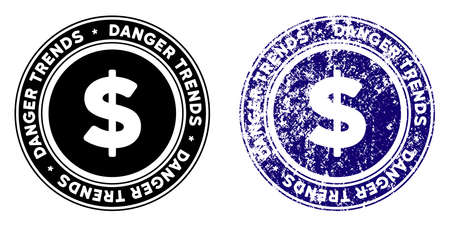 Finances Danger Trends round stamp in grunge blue and clean black styles. Rubber seal stamp with grunge design of Finances Danger Trends. Vector seal with scratched style for rubber stamps imitations.