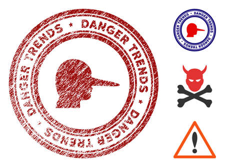 Scammer Danger Trends grunge round stamp with warning icon. Vector red seal with grungy style for rubber stamps imitations. Rubber seal stamp with grunge design of scammer danger trends. Иллюстрация