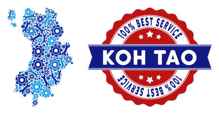 Repair service Koh Tao Thai Island map mosaic of tools. Abstract territorial plan in blue colors and best service mark. Vector Koh Tao Thai Island map is formed of gearwheels and spanners.