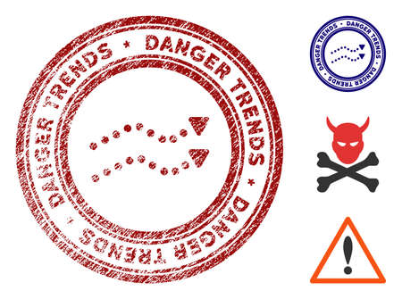 Danger Trends grunge round stamp with warning icon. Vector red seal with scratched surface for rubber stamps imitations. Rubber seal stamp with grunge design of danger trends.
