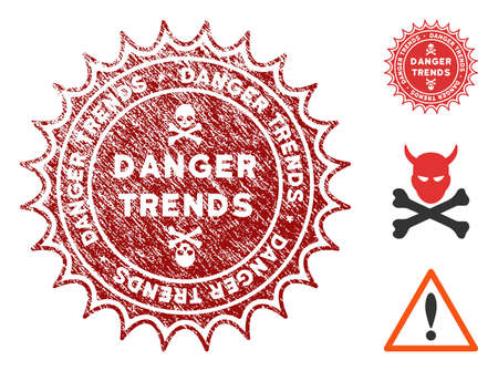 Danger Trends grunge round stamp with warning icon. Vector red seal with distress effect for rubber stamps imitations. Rubber seal stamp with grunge design of danger trends.