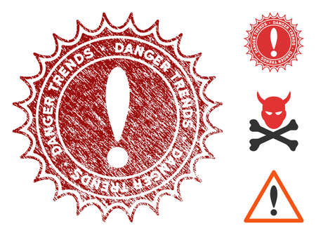 Danger Trends grunge round stamp with warning icon. Vector red seal with grungy effect for rubber stamps imitations. Rubber seal stamp with grunge design of danger trends.