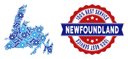 Repair workshop Newfoundland Island map mosaic of service tools. Abstract territorial plan in blue colors and best service award.