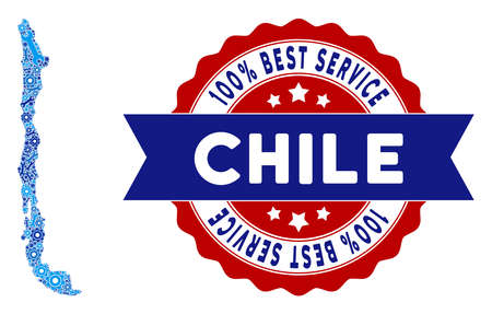 Service Chile map composition of service tools. Abstract territorial scheme in blue colors and best service reward. Vector Chile map is formed of gears and spanners. Concept of mechanic job.