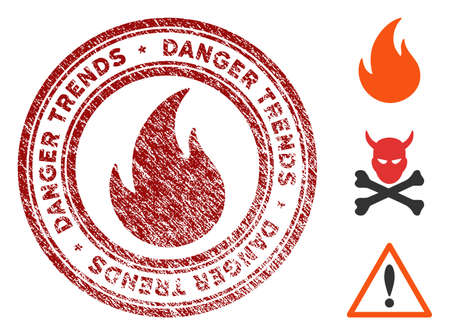 Fire Danger Trends grunge round stamp with warning icon. Vector red seal with scratched texture for rubber stamps imitations. Rubber seal stamp with grunge design of fire danger trends.