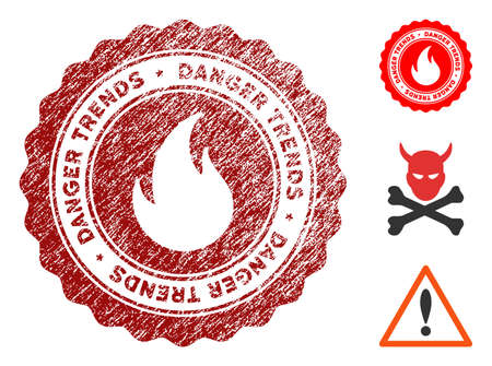Fire Danger Trends grunge round stamp with warning icon. Vector red seal with grungy surface for rubber stamps imitations. Rubber seal stamp with grunge design of fire danger trends.