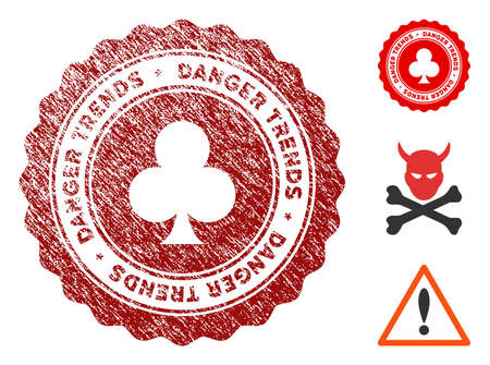 Gambling Danger Trends grunge round stamp with warning icon. Vector red seal with grungy style for rubber stamps imitations. Rubber seal stamp with grunge design of gambling danger trends. 일러스트