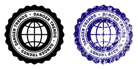 Global Danger Trends round stamp in grunge blue and clean black styles. Rubber seal stamp with grunge design of Global Danger Trends. Vector seal with grungy surface for rubber stamps imitations.