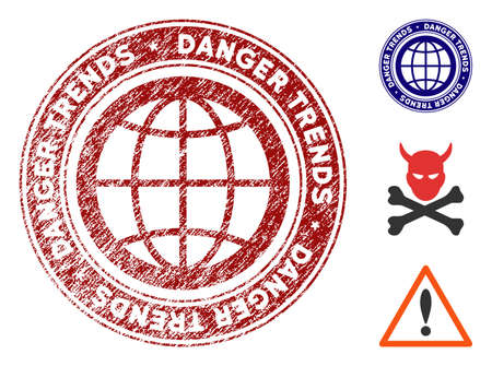 Global Danger Trends grunge round stamp with warning icon. Vector red seal with scratched surface for rubber stamps imitations. Rubber seal stamp with grunge design of global danger trends.