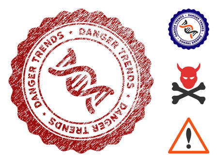 GMO Danger Trends grunge round stamp with warning icon. Vector red seal with scratched effect for rubber stamps imitations. Rubber seal stamp with grunge design of GMO danger trends. Ilustração