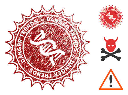 GMO Danger Trends grunge round stamp with warning icon. Vector red seal with distress surface for rubber stamps imitations. Rubber seal stamp with grunge design of GMO danger trends. 일러스트
