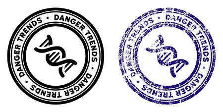 OGM Danger Trends timbre rond dans les styles grunge bleu et noir propre. Timbre de joint en caoutchouc avec design grunge des tendances de danger OGM. Sceau de vecteur avec effet grungy pour les imitations de tampons en caoutchouc.