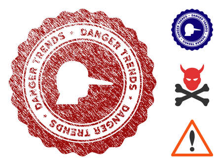 Lier Danger Trends grunge round stamp with warning icon. Vector red seal with scratched style for rubber stamps imitations. Rubber seal stamp with grunge design of lier danger trends.