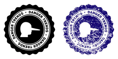 Lier Danger Trends round stamp in grunge blue and clean black styles. Rubber seal stamp with grunge design of Lier Danger Trends. Vector seal with grungy effect for rubber stamps imitations. Illustration