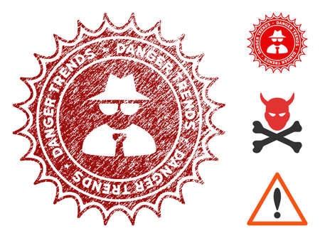 Mafia Danger Trends grunge round stamp with warning icon. Vector red seal with grungy style for rubber stamps imitations. Rubber seal stamp with grunge design of mafia danger trends.