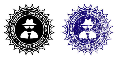 Mafia Danger Trends round stamp in grunge blue and clean black styles. Rubber seal stamp with grunge design of Mafia Danger Trends. Vector seal with grungy surface for rubber stamps imitations. Illustration
