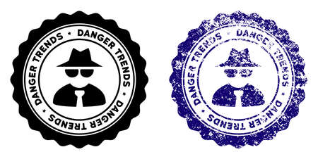 Mafia Danger Trends round stamp in grunge blue and clean black styles. Rubber seal stamp with grunge design of Mafia Danger Trends. Vector seal with grungy effect for rubber stamps imitations.