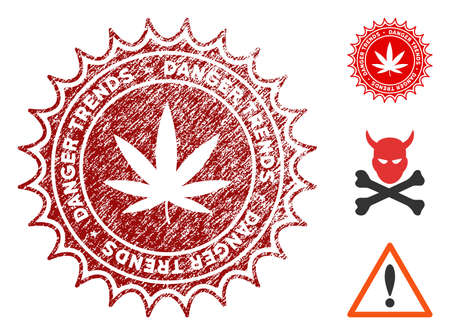 Marijuana Danger Trends grunge round stamp with warning icon. Vector red seal with grungy texture for rubber stamps imitations. Rubber seal stamp with grunge design of marijuana danger trends.