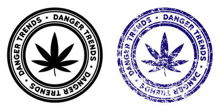 Marijuana Danger Trends round stamp in grunge blue and clean black styles. Rubber seal stamp with grunge design of Marijuana Danger Trends. Illustration