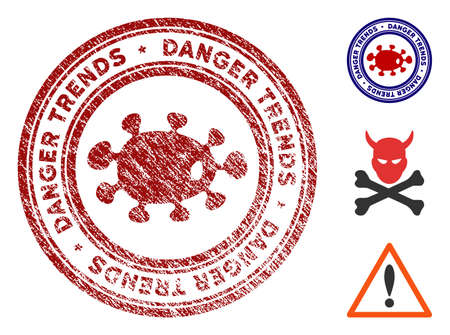 Microbe Danger Trends grunge round stamp with warning icon. Vector red seal with distress style for rubber stamps imitations. Rubber seal stamp with grunge design of microbe danger trends.