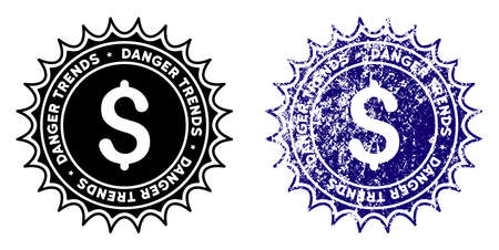 Money Danger Trends round stamp in grunge blue and clean black styles. Rubber seal stamp with grunge design of Money Danger Trends. Vector seal with distress effect for rubber stamps imitations.
