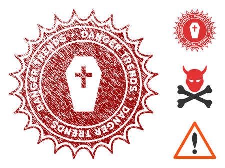Mortal Danger Trends grunge round stamp with warning icon. Vector red seal with scratched texture for rubber stamps imitations. Rubber seal stamp with grunge design of mortal danger trends. Ilustração