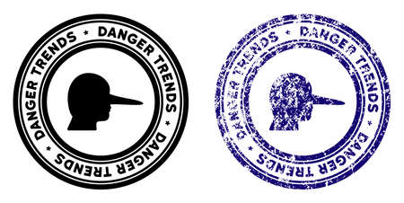 Scammer Danger Trends round stamp in grunge blue and clean black styles. Rubber seal stamp with grunge design of Scammer Danger Trends. Vector seal with scratched style for rubber stamps imitations. Illustration