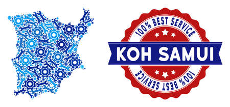 Service Koh Samui map mosaic of service tools. Abstract territorial scheme in blue colors and best service award. Vector Koh Samui map is made of cogwheels and spanners. Concept of technician service. Illustration