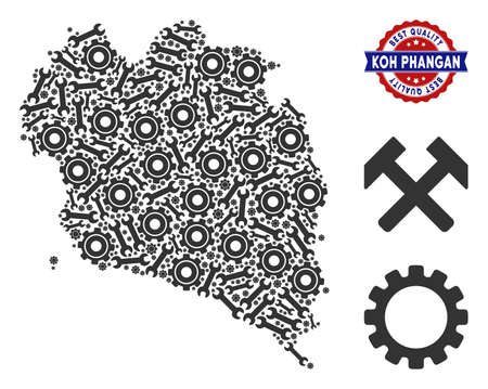 Service Koh Phangan Thai Island map composition of service tools. Abstract territory scheme in gray color and best quality mark. Vector Koh Phangan Thai Island map is formed of cogs and wrenches.