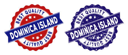 Dominica Island stamps with Best Quality caption, blue grunge and blue and red clean versions. Vector seal watermark imitation with grunge surface.