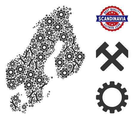 Repair service Scandinavia map mosaic of service tools. Abstract geographic plan in gray color and best quality award. Vector Scandinavia map is created of gear wheels and wrenches.  イラスト・ベクター素材