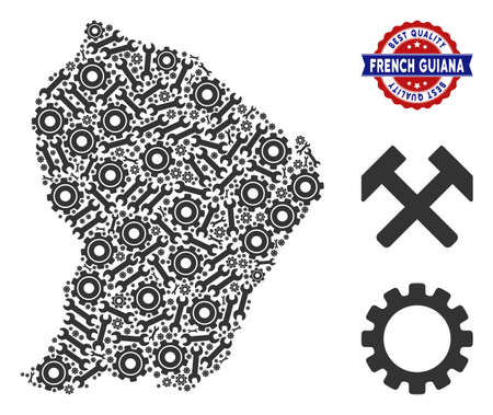 Repair service French Guiana map mosaic of service tools. Abstract territorial scheme in gray color and best quality mark. Vector French Guiana map is composed of cogs and spanners.