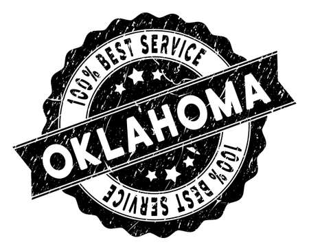 Oklahoma State stamp with Best Quality words. Vector black seal imprint imitation with distress surface. Award vector rubber seal stamp with grunge design for Oklahoma State products and services.