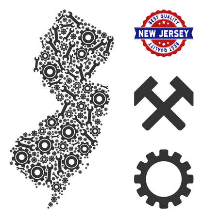 Service New Jersey State map mosaic of service tools. Abstract territorial scheme in gray color and best quality award. Vector New Jersey State map is shaped with gearwheels and wrenches.