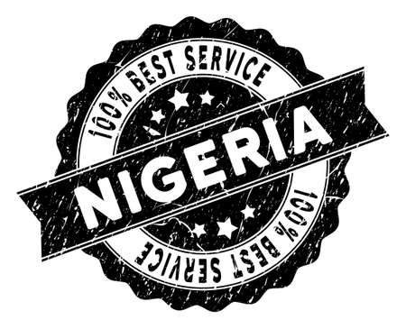 Nigeria stamp with Best Quality title. Vector black seal imprint imitation with distress effect. Award vector rubber seal stamp with grunge design for Nigeria products and services.