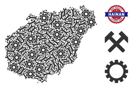 Repair service Hainan Island map collage of tools. Abstract territory scheme in grey color and best quality award. Vector Hainan Island map is done of gear wheels and wrenches.