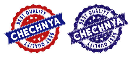 Chechnya stamps with Best Quality label, blue grunge and blue and red clean versions. Vector seal print imitation with grunge effect.