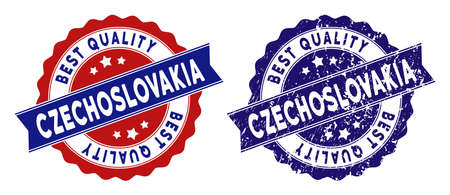 Czechoslovakia stamps with Best Quality label, blue grunge and blue and red clean versions. Vector seal watermark imitation with grunge surface.
